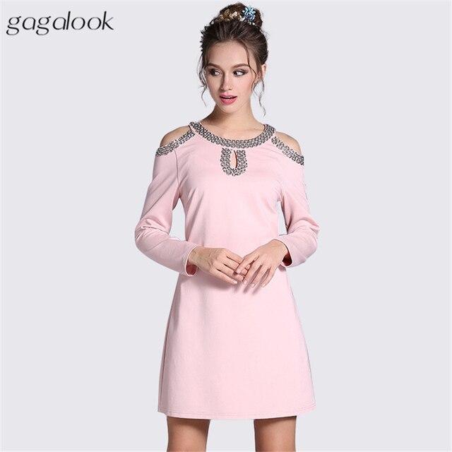 0402945dc09 gagalook Cold Shoulder A Line Dress Women Sexy Keyhole Beaded Pink Black  Plus Size Short Vintage