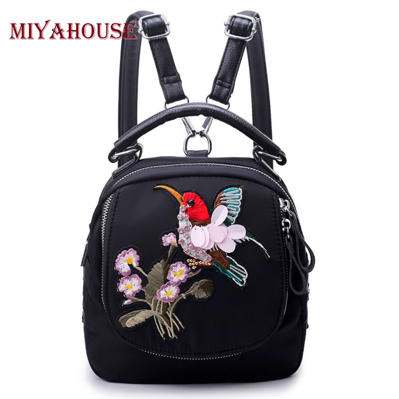 Miyahouse Flower And Bird Embroidery Design Backpacks Female Nylon Material School Bags For Teenage Girls Travel Rucksack Lady