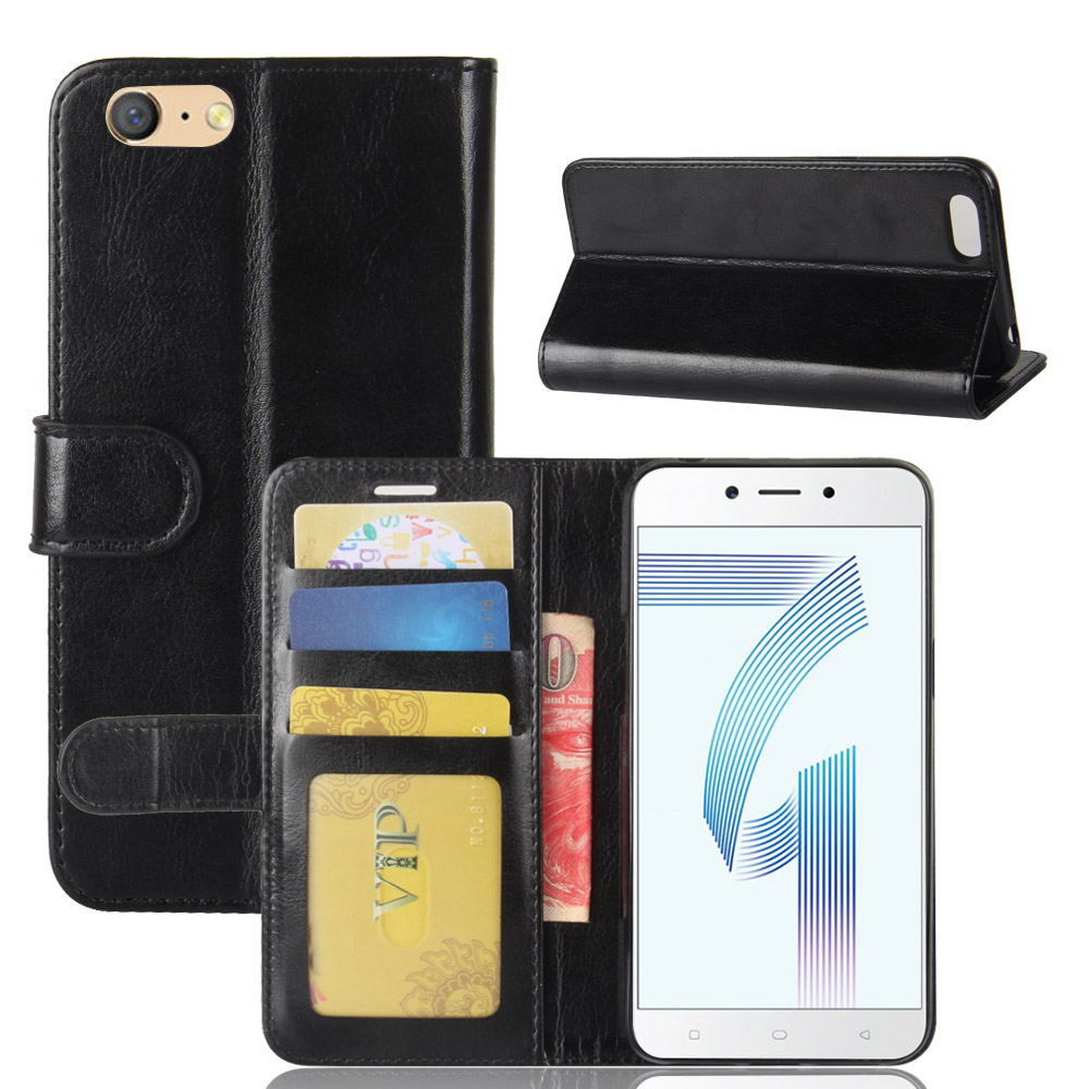 Vintage Wallet Case for OPPO A71 Retro PU Leather Flip Cover Phone Bags Shells with Standing and Visa Card Holders