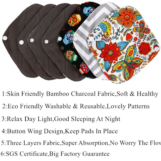 [simfamily] 5+1 Daily Use panty liner sets Reusable Bamboo Charcoal menstrual sanitary pads Stay Dry Super Absorption Healthy