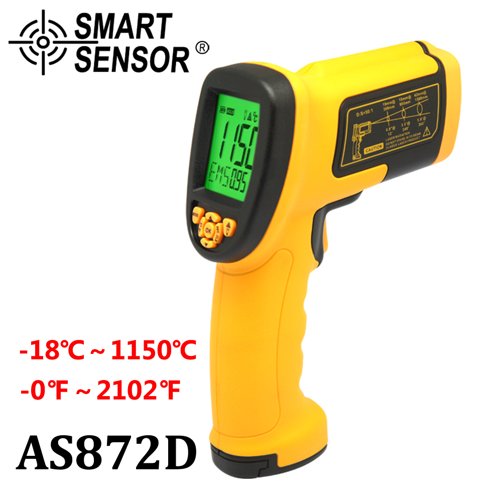 SmartSensor 50:1 Infrared Thermometer high temperature AS872D -50~1150C(-58-2102F) non contact digital IR gun Infrared meter holdpeak hp 1320 digital laser infrared ir thermometer gun meter non contact 50 1500c temperature tester pyrometer