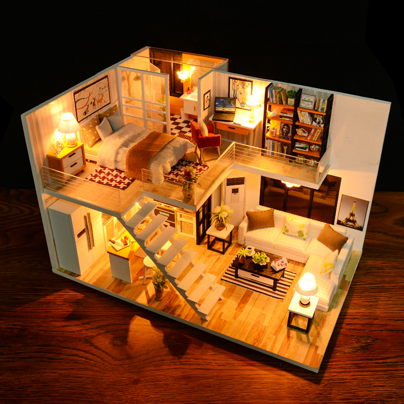 CUTEBEE DIY Dollhouse Wooden Doll Houses Miniature Doll House Furniture Kit Casa Music Led Toys For Children Birthday Gift M13