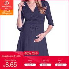 d41526d01311 (nave da US) Vestiti per le Donne incinte Gravidanza delle V Collare  Vestito Maternità di Estate di Colore Solido Vestito Estivo Vestiti Ogni.