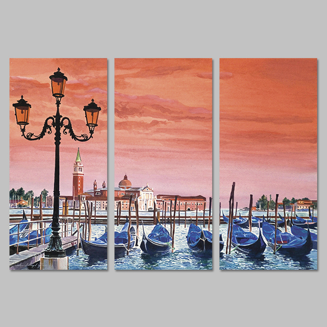 3 Pieces/set Red Pink Sky Landscape Boats Decoration Wall Art ...