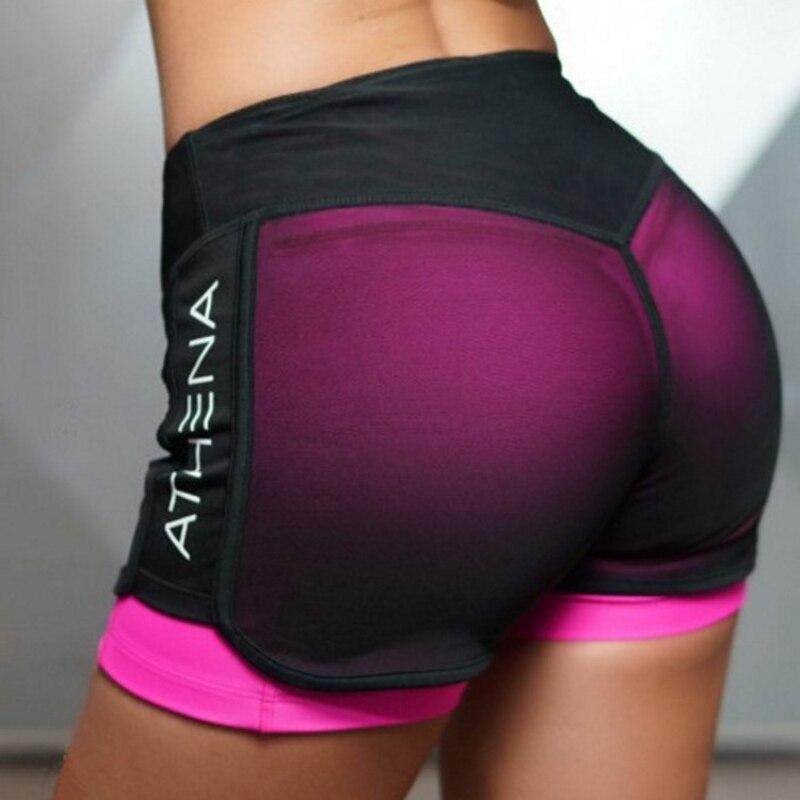 2018 sommer Neue Frauen Kurze für Workout Mode Lässig Aktiven Kurzen Feminino Gefälschte Zwei Atmungsaktive Shorts Frauen