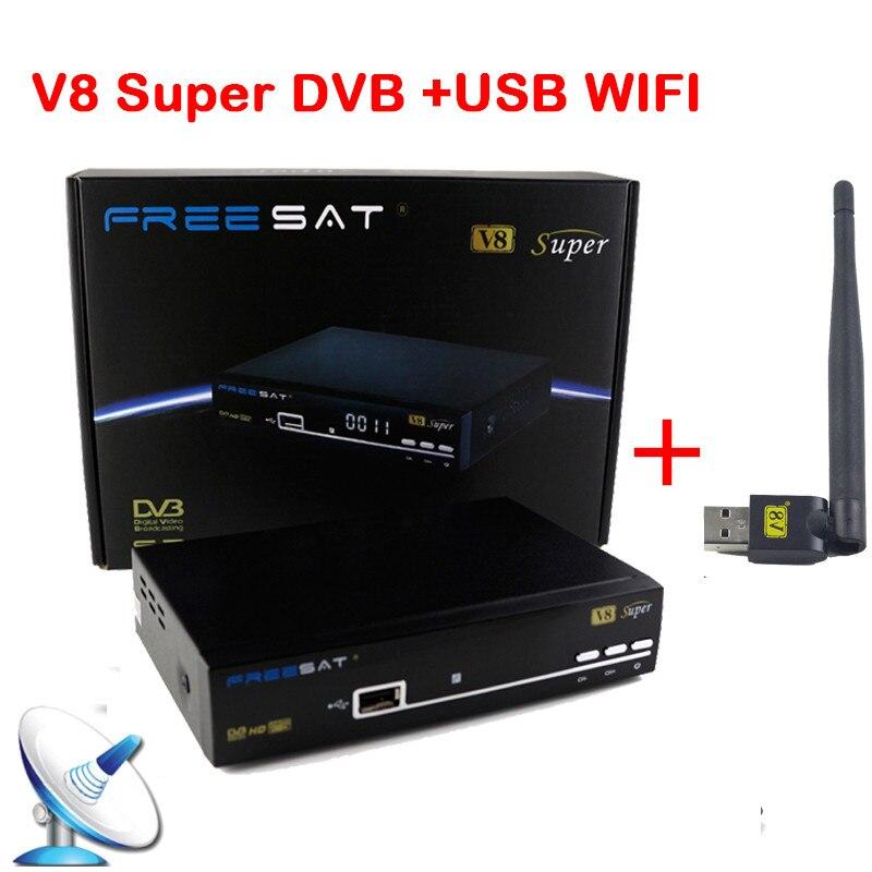 Receiver Freesat V8 Super 1080P Full DVB S2 Satellite Receiver Decoder 1PC USB WIFI Supported Full
