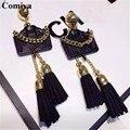 Mos T Bolsa de la camisa de moda Comiya gótico negro de la borla de la decoración pendientes para las mujeres patrón de la capa grande punk aleación de zinc largo pendiente