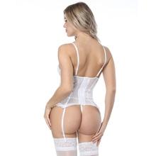 Women's White Striped Mesh Corset and Panties Set