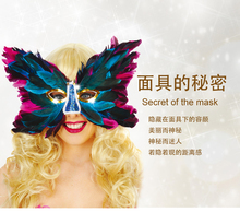 Halloween adult female improper face ball full feather mask butterfly shape