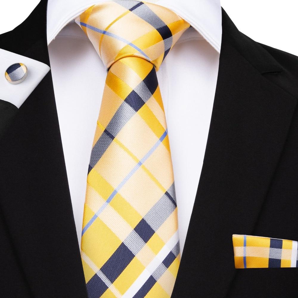 BarryWang 160cm Length 8 Styles Plaid Ties Yellow Pink Red Blue Hanky Cufflinks Set Mens Silk Tie 8.5cm Wedding Groom Crava