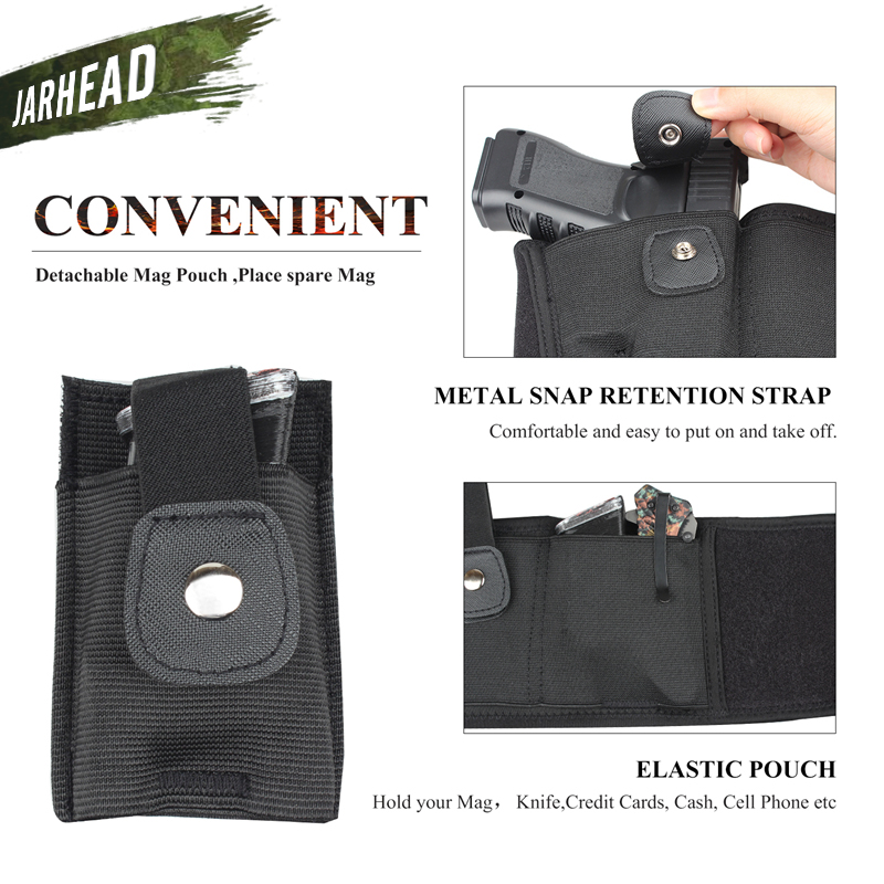 Image 5 - 44 inch Tactical Belly Band Holster Concealed Carry Pistol Gun Pouch Waist Bag Invisible Elastic Girdle Belt for Outdoor Hunting-in Holsters from Sports & Entertainment