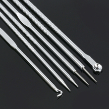 6pcs Stainless Steel 2 in 1 Double Head Blackhead Remover Acne Pore Cleaner Pimp