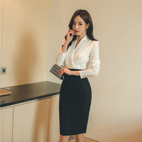 OL Style V neck Patchwork Women Dress Autumn Full Sleeve Work Business Female Vestidos femme Elegant Hip Package Sexy Dress 2018