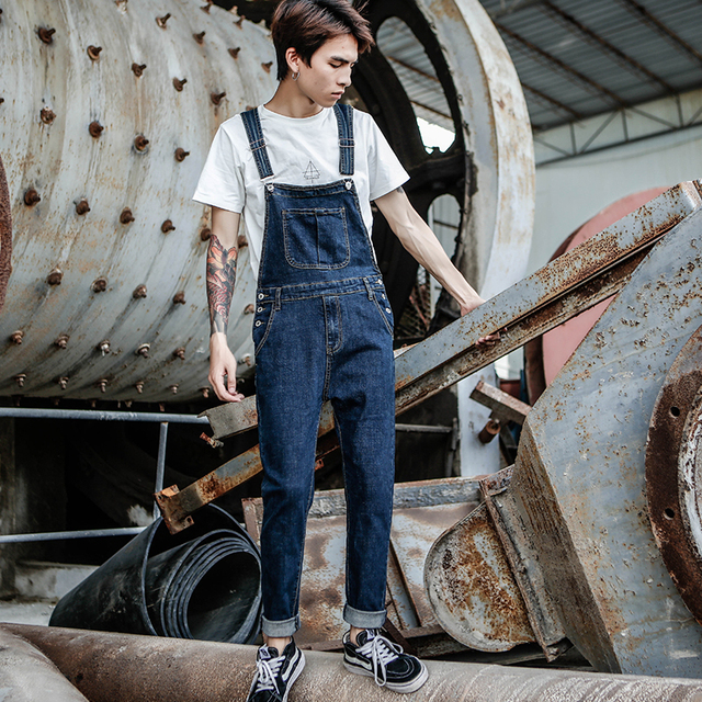 2019 New Men's Harajuku Denim Overalls Men's Korean Version of the Self-cultivation feet Stretch jeans Strap Blue Trousers