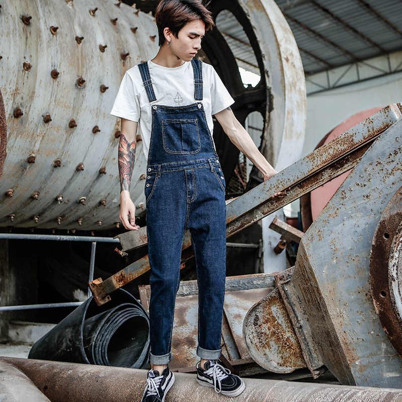 2020 New Men's Harajuku Denim Overalls Men's Korean Version Of The Self-cultivation Feet Stretch Jeans Strap Blue Trousers