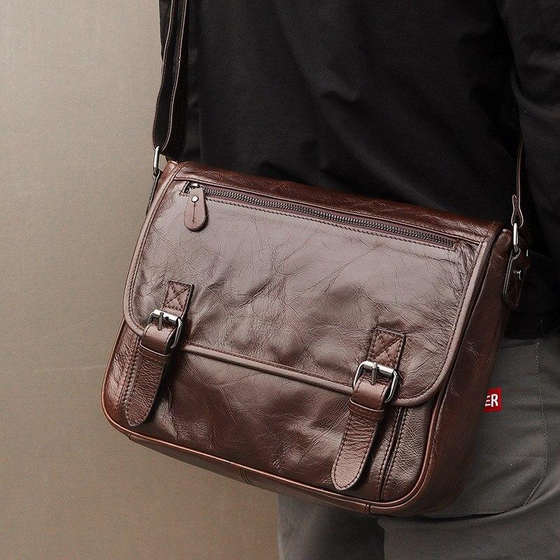 13 portátil maletín bolsos de hombro de cuero de vaca hombres marrón negocios viaje Vintage Casual moda cuero genuino bandolera - 2