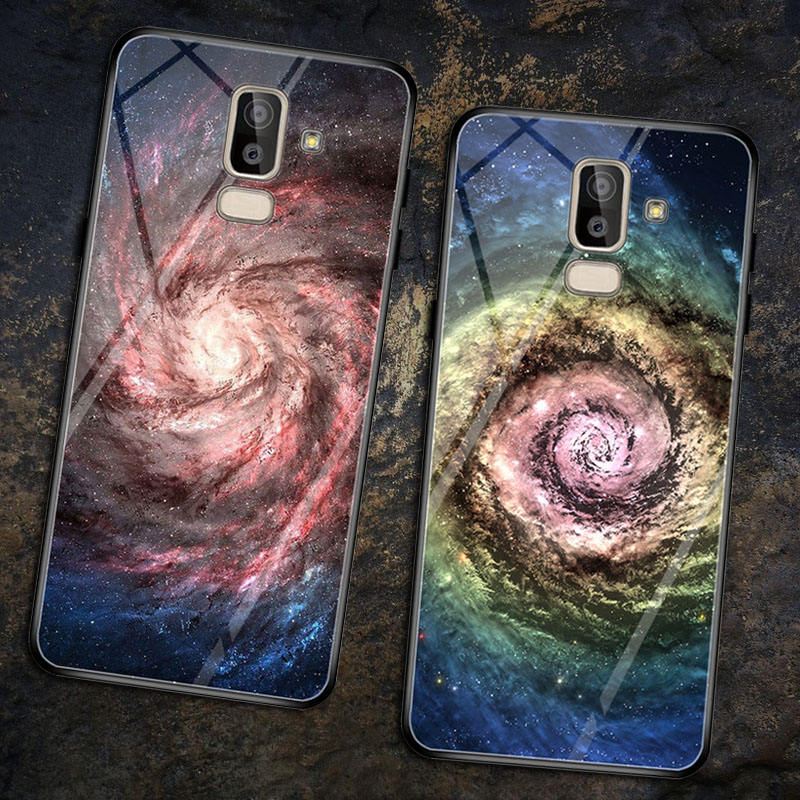 Carcasa j8 2018 Tempered Glass Case For Samsung Galaxy J8 Coque Cases Cover Painted Back Fundas