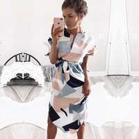 2019 Hot Sale Women Midi Party Dresses Geometric Print Summer Boho Beach Dress Loose Batwing Sleeve Dress Vestidos Plus Size