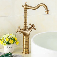 Antique Brass Tall Bathroom Faucet Swivel Spout Basin Mixer Faucets Double Handes Vanity Sink Mixer Tap все цены