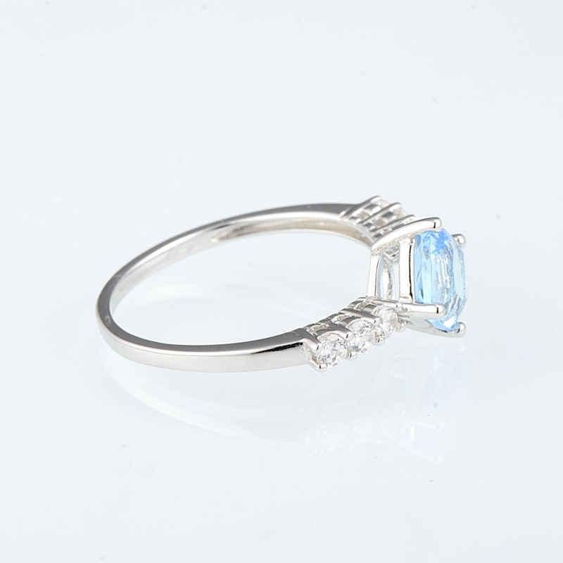 SANTUZZA แหวนเงินผู้หญิง 925 เงินสเตอร์ลิง Blue Shine หินแหวนอุปกรณ์เสริมแหวนแฟชั่นเครื่องประดับ