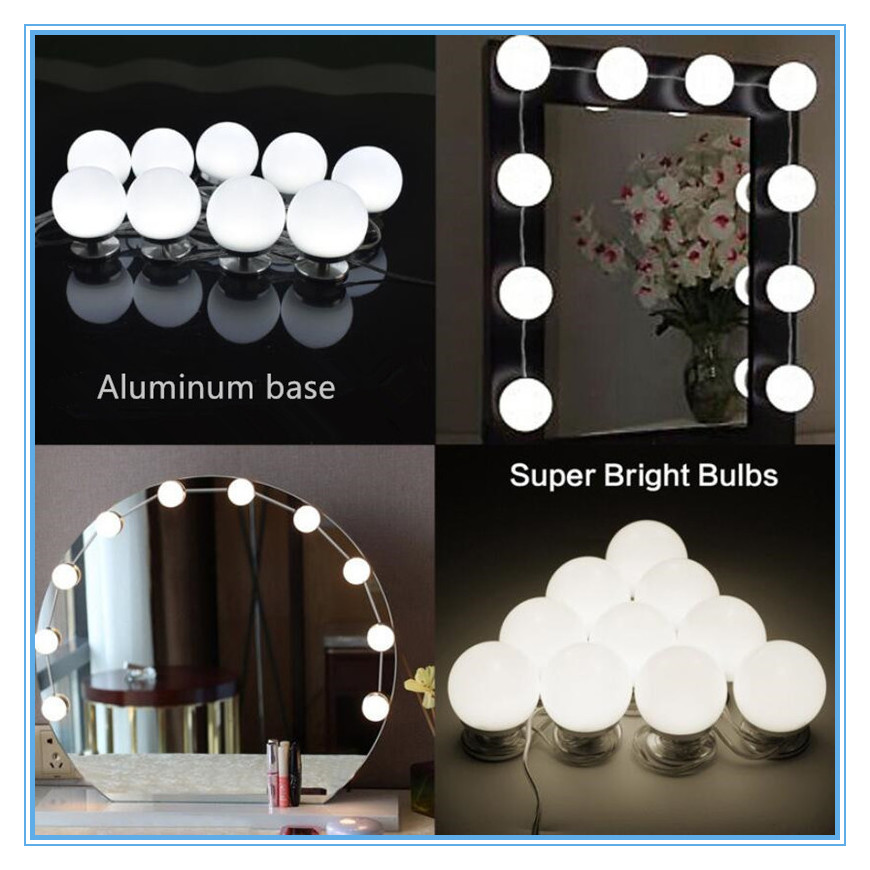 TS-ML03A супер яркий max 20 Вт высокое качество led косметическое легкий алюминиевый косметическое зеркало с подсветкой с диммером и Мощность адап... ...