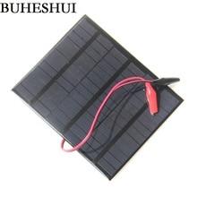 BUHESHUI 3 5W 18V Solar Cell Polycrystalline Solar Panel Chager Crocodile Clip For Charging 12V Battery