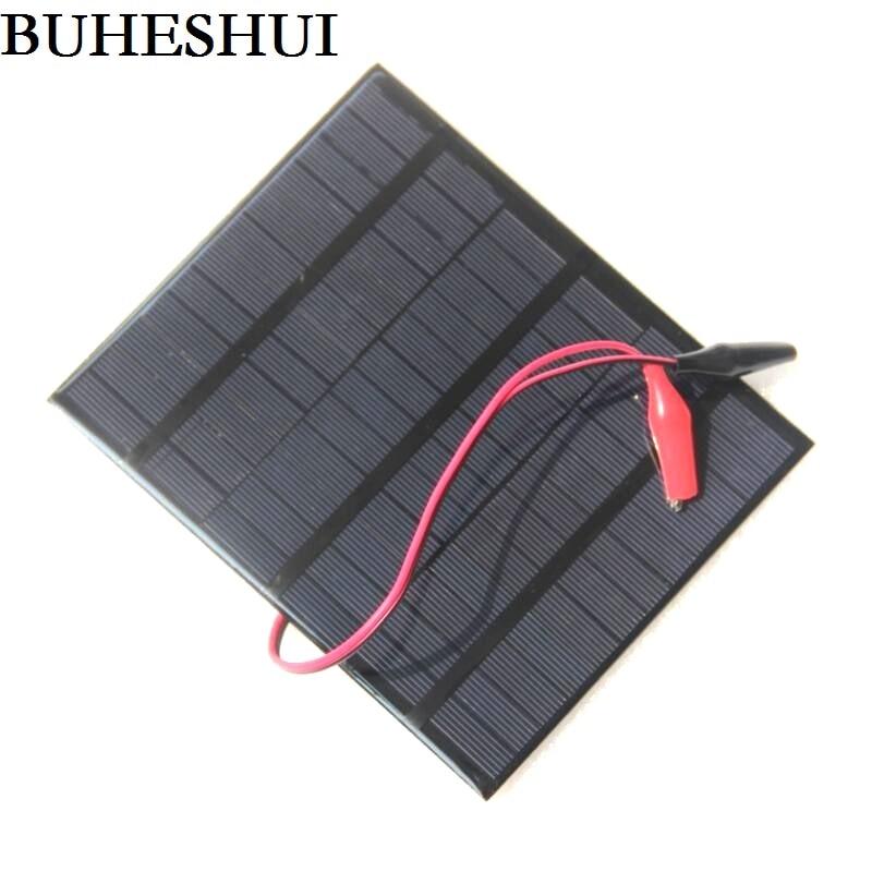 BUHESHUI 3.5W 18V Solar Cell Polycrystalline Solar Panel Chager+Crocodile Clip For Charging 12V Battery System 165*135*3MM 2pcs