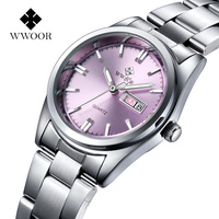 016 Brand Relogio Feminino Date Day Clock Female Stainless Steel Watch Ladies Fashion Casual Watch Quartz