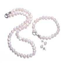 DAIMI Baroque Pearl Sets 8-9mm Freshwater Pearl Jewelry Sets For Women Party Jewelry Heart Clasp Can DIY to Long Necklace(China)