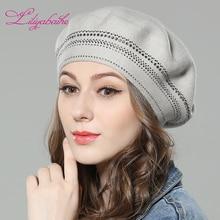 Liliyabaihe جديد المرأة الشتاء قبعة صوف محبوك القبعات ، القبعات مع المحيطة الماس الديكور الأزياء الصلبة اللون قبعة