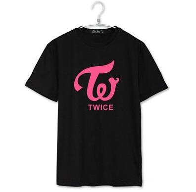 Twice Logo And Member Name Printing Summer Short Sleeve O Neck T Shirt Kpop Momo Jihyo Tzuyu T-shirt  Unisex Tees