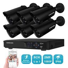 SUNCHAN Full HD 8CH P 1080 P 2.0MP камеры безопасности системы 6*1080 P открытый ночное видение CCTV дома системы видеонаблюдения комплект