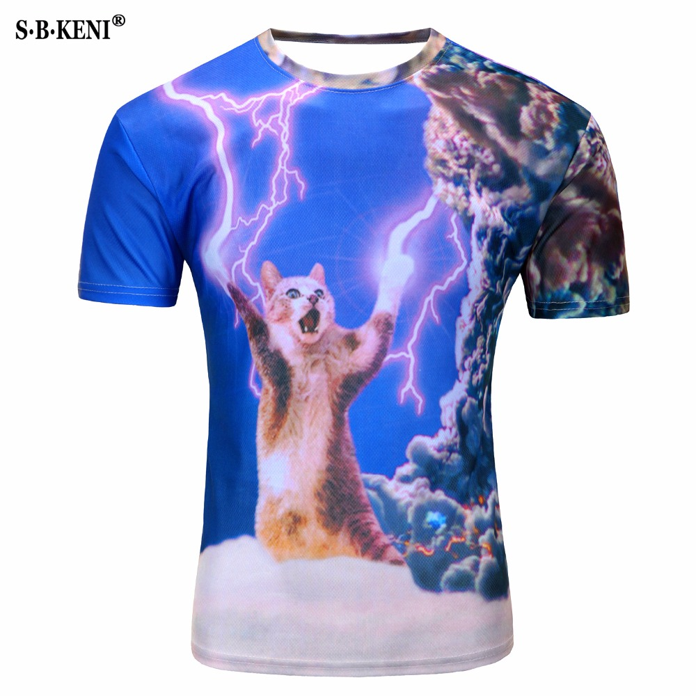 2019 New 3D Short Sleeve   T  -  Shirt   printed creative cat   t     shirt   men's Lightning cat/novelty/pizza cat/tree tee tops Mario M-4XL