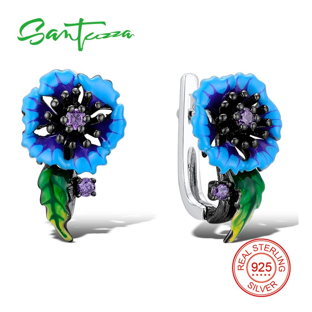 SANTUZZA Silver Blue Flower Earrings For Women 925 Sterling Silver Earrings Cubic Zirconia brincos Chic Jewelry Handmade Enamel chic ellipse shape faux gem flower earrings for women