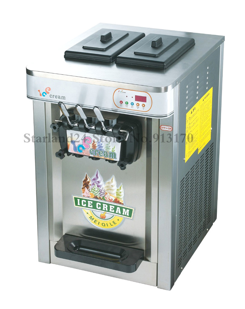 Commerciële Ijs Machine 3 Heads Desktop Kleurrijke Rvs Soft Ijsmachine 22 ~ 25 Liter/H 220 V - 3