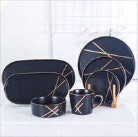 Nordic Black Gold Phnom Penh Series Bowl Disk Set Home Ceramic Tableware Salad Bowl Fruit Disc