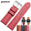 Pulsera de cuero genuino correa de reloj 24mm venda de reloj para PAM relojes de pulsera banda de reloj accesorios multicolor rosa azul rojo marrón