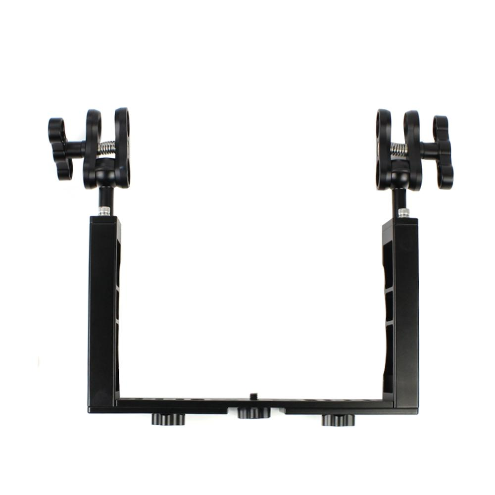 Aluminum Diving Underwater Tray Kit with Butterfly Clip Floating Arm Handle Grip Gimbal for Gopro Action