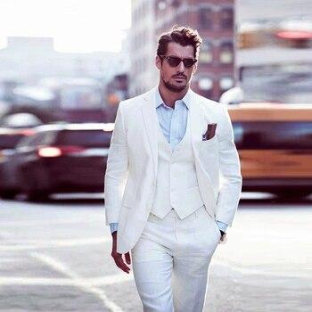 YWMS-408 Latest Coat Pant Design White Formal Slim Fit Men Suit 3 Piece Tuxedo Skinny Groom Custom made Wedding Suits for man