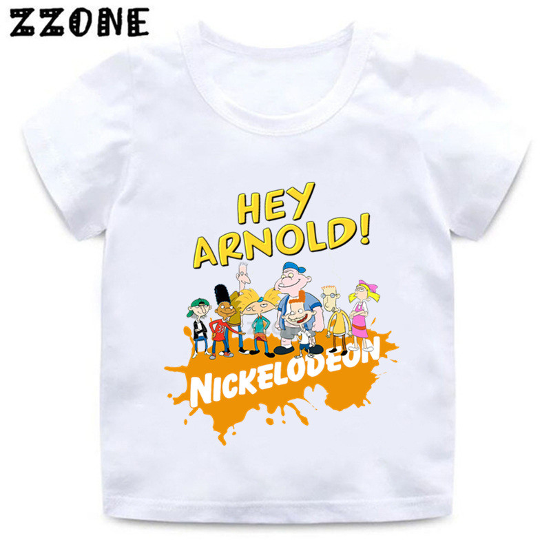 Boys And Girls Hey Arnold Cartoon Print T Shirt Kids Funny Casual Clothes Baby Summer Short Sleeve T-shirt,ooo5253