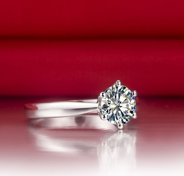 2ct Classic Six Prongs Solid White Gold 14k Diamond Ring For Women