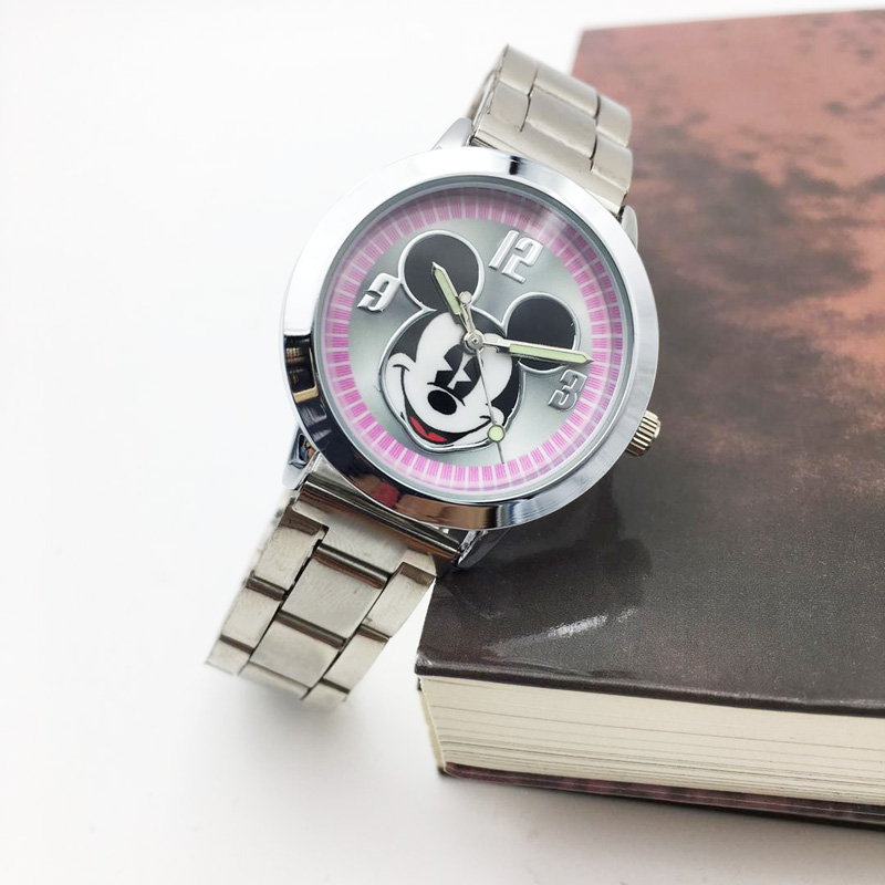 2019 Mickey mouse Watch ladies Stainless Steel Women Watches Cartoon Mouse Clock students kids Sports Quartz Wristwatches (4)