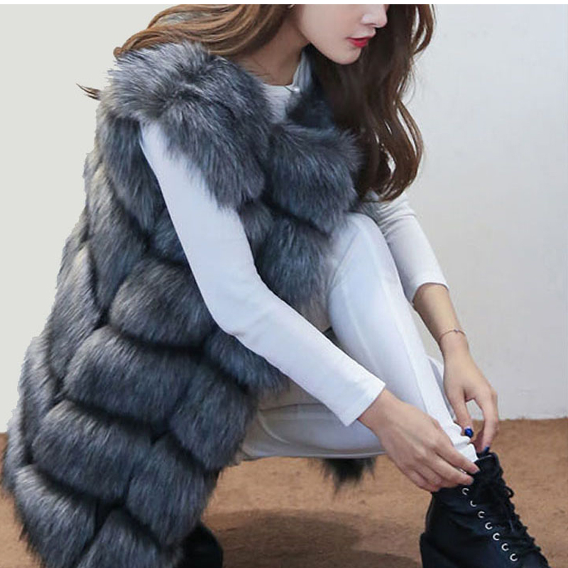 MCCKLE Fur Vest Sleeveless Coat Luxury Faux Fox Winter Warm Women - ქალის ტანსაცმელი - ფოტო 2