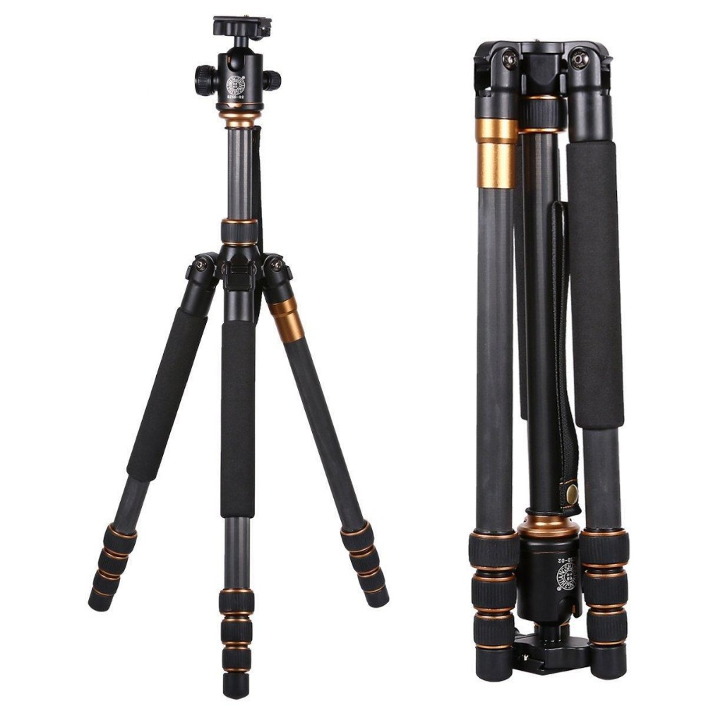 Q-999C Professional Photography Carbon Fiber Portable Travel Tripod Monopod Kit & Ball Head for DSLR Camera Canon Nikon F13491 new upgrade q999s professional photography portable aluminum ball head tripod to monopod for canon nikon sony dslr camera