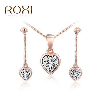 Ensemble de bijoux ROXI couleur or Rose AAA Zircon forme de coeur boucles d'oreilles collier bijoux de mariée ensembles de mariage pour les vacances
