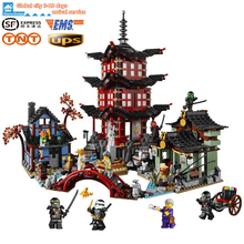 LEPIN 06022 Ninjagoe Temple of Airjitzu Block Brick Toys Set Boy Game Team Castle Minifiguren Compatible with legeod 70751 Gift