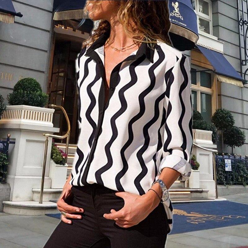 DeRuiLaDy 2018 Fashion Women Turn Down Collar Long Sleeve Office Chiffon   Blouse     Shirt   Casual Striped   Blouses   Top Plus Size Blusa