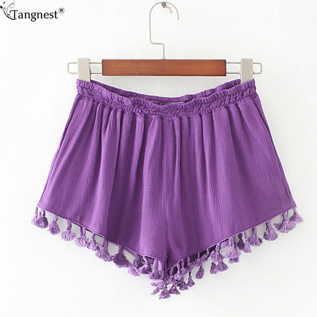 TANGNEST Summer Beach Draped Shorts 2017 New Brand Hot Women's Casual Short Pants Sexy Hanging Ball Shorts Soft Fabric WKD499