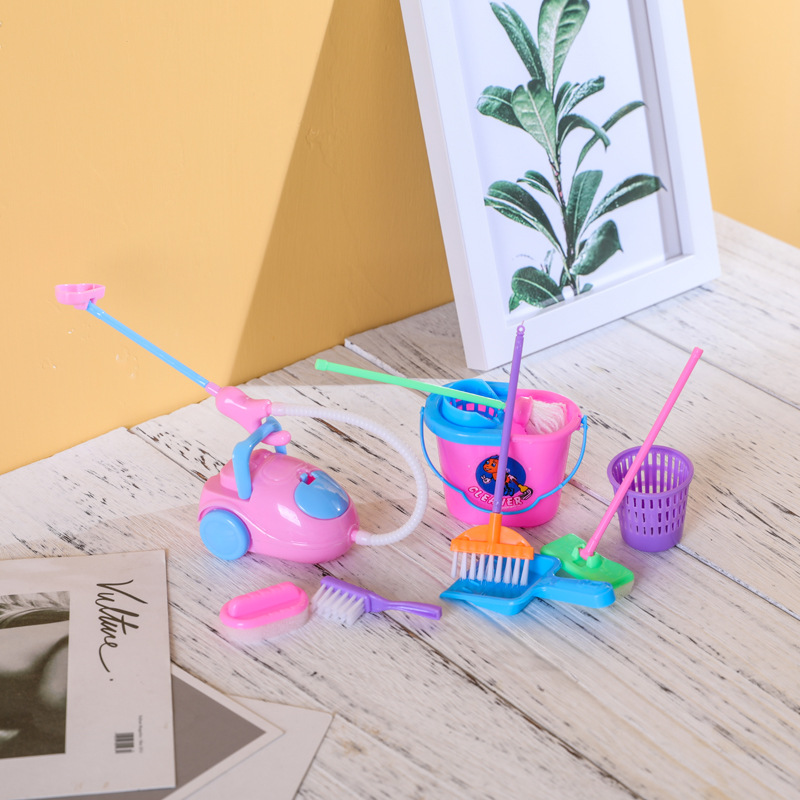 Baby Role Play Toys Kids Housekeeping Cleaning Toy 9Pcs/Set Pink Broom Cleaning Brush Baby Sweep Pretend Education Toys Kit