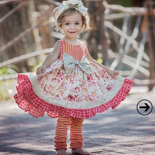 New Arrival Girls 2 Pcs Summer Clothing Floral Bow Dress Stripes Icing Cotton Ruffle Pants Remake Children Outfits 2GK712-052